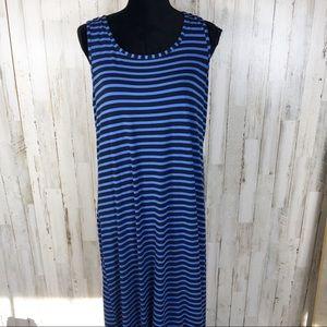 Chico's Zenergy Striped Maxi Dress Sleeveless Tank